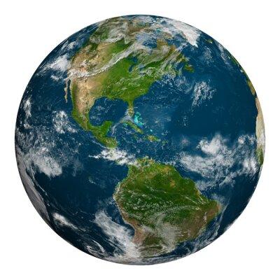 Fototapeta Planeta Ziemia z chmurami. Ameryka Północna i Południowa.