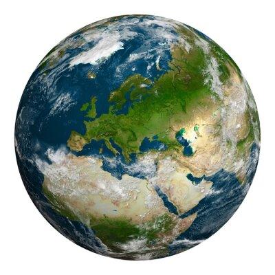 Fototapeta Planeta Ziemia z chmurami. Europa, część Afryki i Azji.