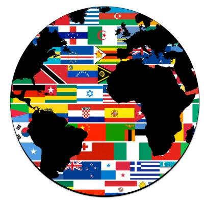 Fototapeta Planète avec drapeaux