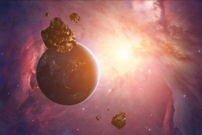 Fototapeta Planetoidy, z gwiaździstym tle. Cyfrowe ilustracji.