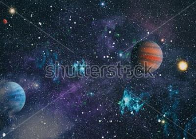 Fototapeta planety, gwiazdy i galaktyki w kosmosie ukazujące piękno eksploracji kosmosu. Elementy dostarczane przez NASA