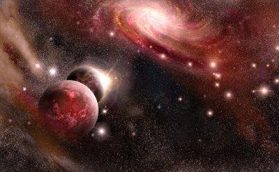 Fototapeta planety i galaktyki w odcieniach czerwieni
