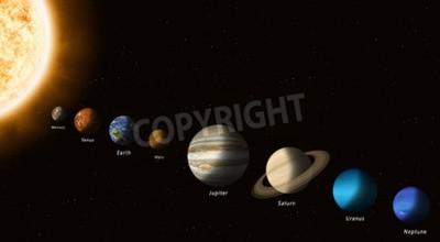 Fototapeta Planety Układu Słonecznego ze słońcem