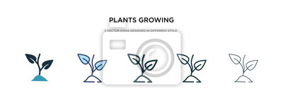 Fototapeta plants growing icon in different style vector illustration. two colored and black plants growing vector icons designed in filled, outline, line and stroke style can be used for web, mobile, ui