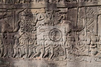 Płaskorzeźba świątyni Bayon. Kambodża