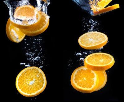 Fototapeta plasterek pomarańczy w wodzie z bąbelkami