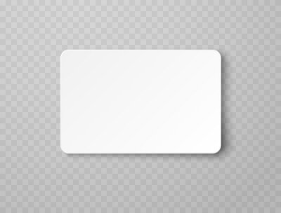 Fototapeta Plastic or paper white business card isolated on transparent background. Vector blank sticker, sheet, label, banner with rounded corners template