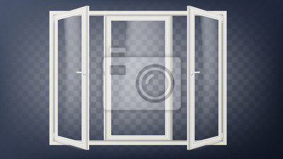 Fototapeta Plastikowe drzwi wektor. Plastikowa rama drzwiowa. Otwarte drzwi do sklepu. Fasada budynku. Oszczędzanie energii. Na przezroczystym tle ilustracji