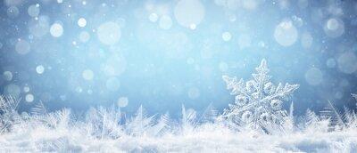 Fototapeta Płatek śniegu na naturalne Snowdrift Close Up - Boże Narodzenie i zima w tle