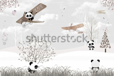 Fototapeta Playing cute pandas kids room wallpaper design