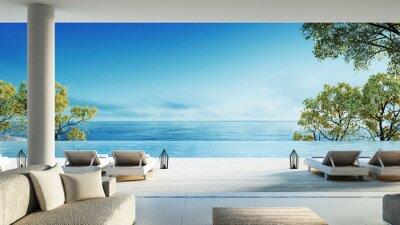 Fototapeta Plaża żyjących na Widok na morze / rendering 3d