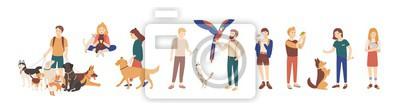 Fototapeta Plik zwierzę domowe właściciele odizolowywający na białym tle. Kolekcja kobiet i mężczyzn trzymających swoje zwierzęta domowe, spacerujących i bawiących się z nimi. Zestaw postaci męskich i żeńskich.