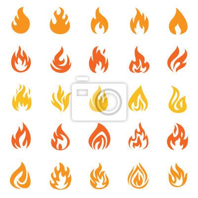 Fototapeta Płomień pomarańczowa ikona ustawiająca na białym tle dla grafiki i sieć projekta, Nowożytny prosty wektoru znak. Koncepcja Internetu. Modny symbol przycisku strony internetowej lub aplikacji mobilnej