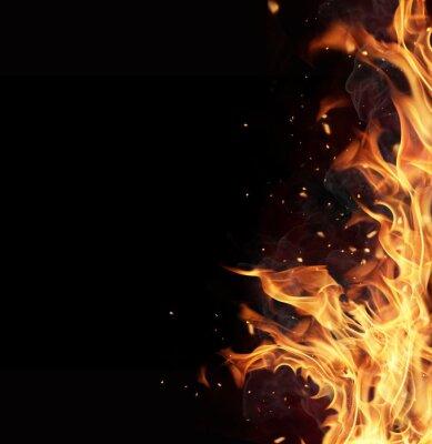 Fototapeta Płomienie ognia na czarnym tle
