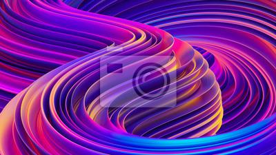 Fototapeta Płynne kształty abstrakcyjne holograficzne 3D faliste tło