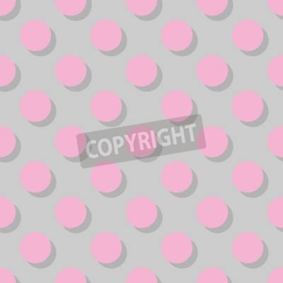 Fototapeta Płytka wektor wzór duże różowe kropki z cienia na szarym tle