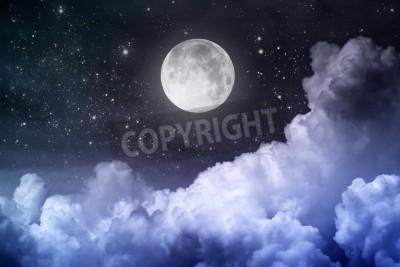 Fototapeta pochmurne niebo noc z księżycem i gwiazdą
