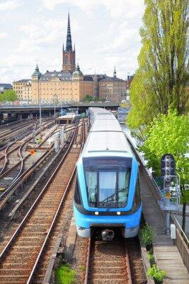 Fototapeta Pociąg metra w Sztokholmie