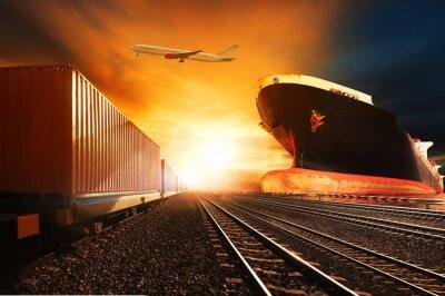 Fototapeta Pociągi kontenerowe, statek towarowy komercyjnych na płaszczyźnie portu cargo fl