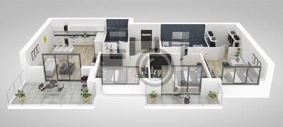 Fototapeta Podłogowy plan domowa odgórnego widoku 3D ilustracja. Koncepcja mieszkania otwarta otwarta koncepcja