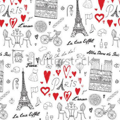Fototapeta Podróż Paryż wektor wzór linii