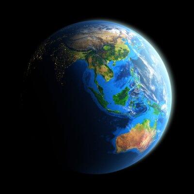 Fototapeta Podświetlany oblicze Ziemi odizolowane na czarno