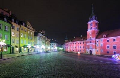 Fototapeta Podświetlone na Zamku Królewskim w Warszawie i Plac Zamkowy w nocy