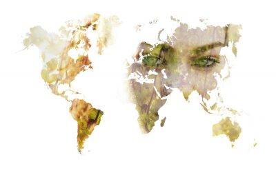 Fototapeta Podwójna ekspozycja mapy świata sylwetka i piękna dziewczyna portr