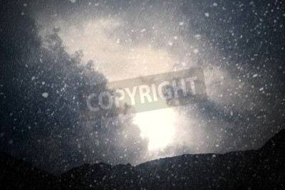 Fototapeta Pogoda - Dramatyczna nieba z deszczem i śniegiem - generowany komputerowo obraz