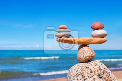 Fototapeta Pojęcie harmonii i równowagi. Równowaga kamieni z morzem.