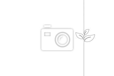 Fototapeta Pojedyncza, ciągła linia sztuki kiełkowania. Zasadza liścia ziarna rosnąć glebowego rozsady eco pojęcia natury naturalnego rolnego projekt jeden nakreślenie konturu rysunkowa wektorowa ilustracja