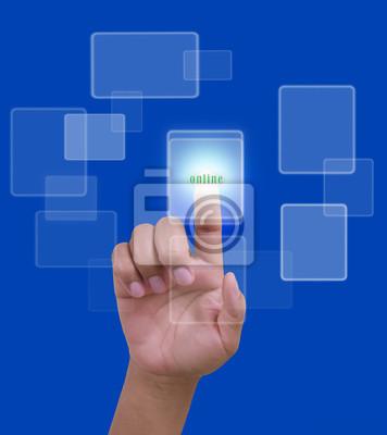 pokaz sieć online z strony na niebieskim tle