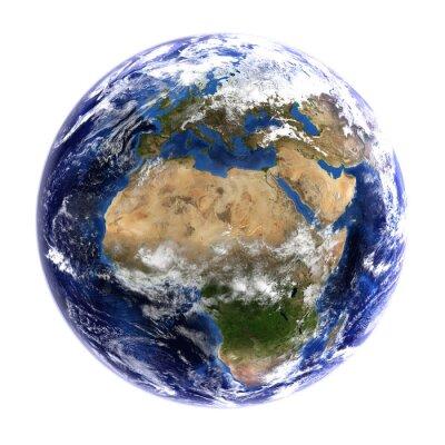 Fototapeta Pokazując Europa Ziemia i Afryka na białym.