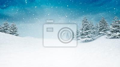 Fototapeta pokryte śniegiem spokojny zimowy krajobraz w śniegu