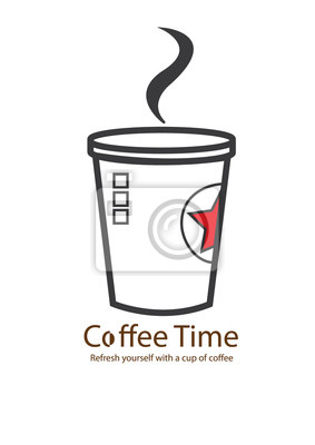 Fototapeta Pokrywa Coffee time menu, Clean vector, Ilustracja