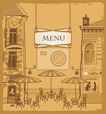 Pokrywa z miejskiego menu kawiarni