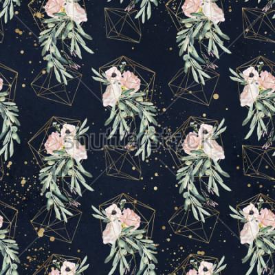 Fototapeta Połączone z kwiecistym wzorem kwiatowym z gałązkami oliwnymi, liśćmi, bukiety kwiatów rumieniec, plamy farb i złote kształty geometryczne na czarnym tle
