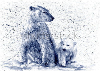 Fototapeta Polar bear black&white
