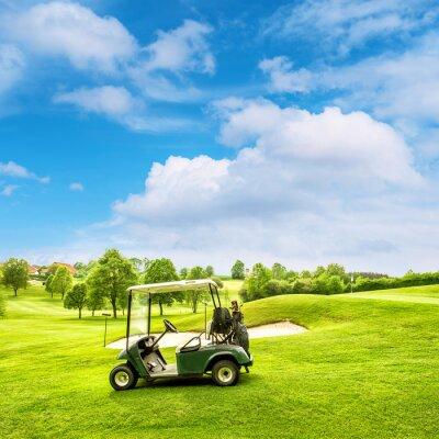 Fototapeta Pole golfowe lanscape z zielonym polu na błękitnym niebie