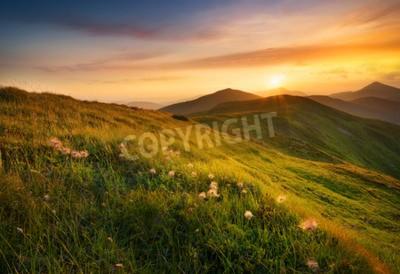 Fototapeta Pole Góry podczas zachodu słońca. Piękne krajobrazy