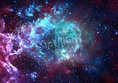 Fototapeta Pole gwiazda w przestrzeni A mgławice i zatory gazowe.