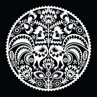 Fototapeta Polish folk art pattern with roosters - wzory lowickie