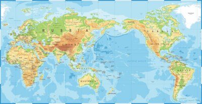 Fototapeta Political Physical Topographic Colored World Map Pacific Centered
