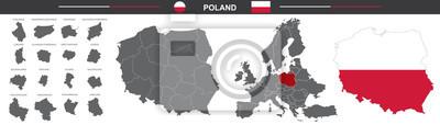 Fototapeta political vector map of Poland on white background