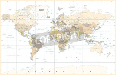 Fototapeta Polityczna Fizyczna Topograficzna Barwiona Światowej mapy wektoru ilustracja