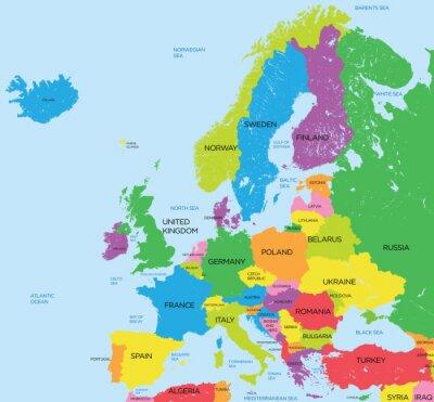 Fototapeta Polityczna mapa Europy dużej szczegółowości