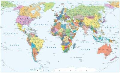 Fototapeta Polityczna mapa świata - granice, kraje i miasta