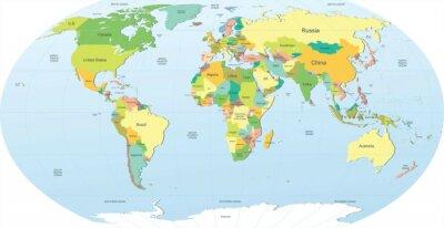 Fototapeta Polityczna mapa świata w kolorze