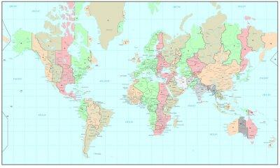 Fototapeta Polityczna mapa świata z stref czasowych