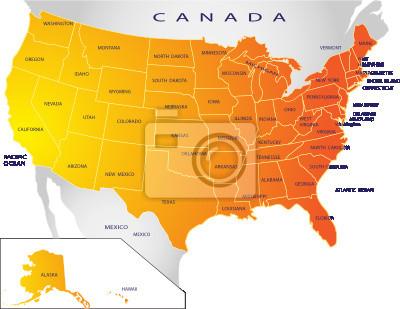 Fototapeta Polityczna Mapa Usa Na Wymiar Zolty Tlo Projekt